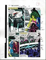 1988 Buscema Avengers 296 Marvel original color guide art page 4: She-HulkThor