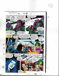 1988 Buscema Avengers 296 Marvel Comics color guide art page 15: She-HulkThor