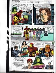 1991 Avengers Marvel color guide art:IronmanShe-HulkBlack WidowFantastic Four