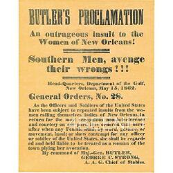 Butler's Proclamation New Orleans Women BROADSIDE REPLICA rolled never folded