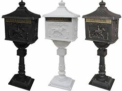 Mail Box Heavy Duty Mailbox Postal Box Security Cast Aluminum Vertical Pedestal $161.49