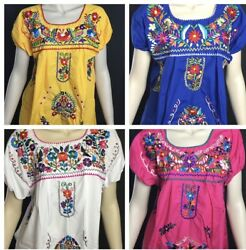 WOMANS PEASANT HANDMADE EMBROIDERED MEXICAN BLOUSES ASSORTED COLORS AND SIZES E $24.99