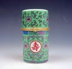Green Glazed Famille-Rose Flowers Painted Porcelain Toothpick Holder #110513B1
