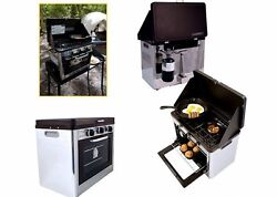 BBQ Kitchen Range Electric Oven Stove 2-Burner Propane Gas Rack Camping Outdoor