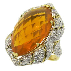 Impressive 24ct  Mexican Fire Opal 3.60ctw Diamond 18k Gold Cocktail Ring