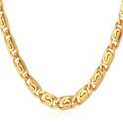 18K Yellow Gold Plated Jewelry Classic Snail Chain Necklace for Men 6MM 22 Inch