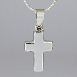 Small Thick Cross in SOLID 925 Sterling Silver with Sterling SNAKE Chain NEW $22.47