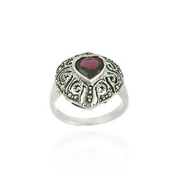 925 Silver Marcasite and Garnet Filigree Heart Ring Size 8