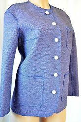 CHANEL Classic Tweed Purple Blue Runway Trench Jacket Size 42