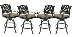 Patio bar stools Set of 4 Outdoor Furniture Nassau Swivel Cast Aluminum Bronze
