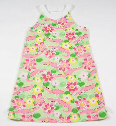 GYMBOREE GIRLS 9 DRESS ISLAND LILY PINK GREEN ALLIGATOR GATOR TROPICAL FLORAL