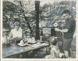 1966 Camping Family Cooking Out on Vintage Grill Press Photo