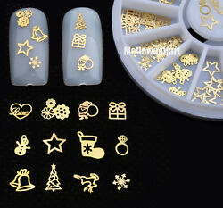 3D Gold Metal Christmas Nail Art Decoration Slice Stickers Decal Foil Wheel