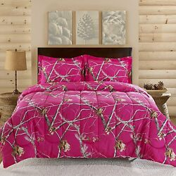 Realtree APC Bright Pink 2-3 Piece Twin Queen Hunting Camo Bedding Comforter Set