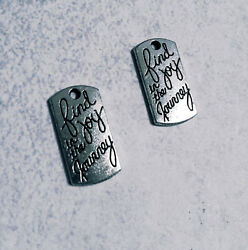 10 Word Charms Quote Charms Find Joy in The Journey Silver Inspirational Pendant $2.24