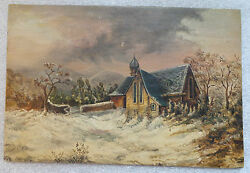fine old oil on board winter landscape painting signed W S $85.00