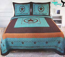 3Pcs Texas Western Design Star Barbwire Quilt BedSpread Comforter Style-KING