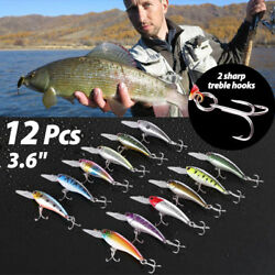 12 PCS 3.6quot; Fishing Lures Crankbaits Hooks Minnow Baits Tackle Twitching Bass $13.99