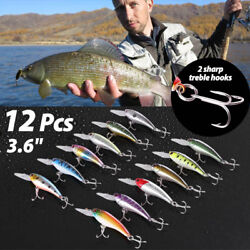 12 PCS 3.6 Fishing Lures Crankbaits Hooks Minnow Baits Tackle Twitching Bass $12.99
