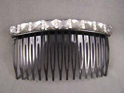 Grey Black plastic comb crystal side clip hair comb french twist 3 3 8quot; wide $4.49