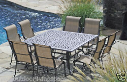 9 piece sling patio dining set cast aluminum frame outdoor furniture garden