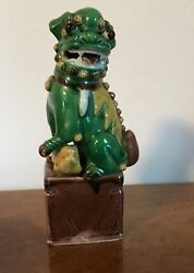 Antique 19th century Chinese Porcelain Foo Dog Famille Vert Glaze Qing