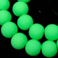 8mm Matte Frosted Neon Rubber Glass Round Beads -  Green 16