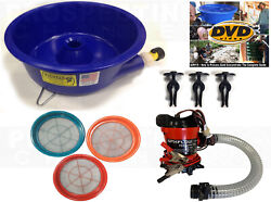 BLUE BOWL PAN GOLD Prospecting CONCENTRATOR 3 Classifiers PUMP LEVELER KIT DVD $209.95