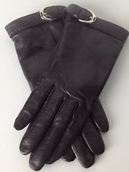 Ralph Lauren Purple Label Leather Gloves 6.5 Black Cashmere Lined New