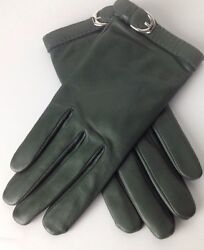 Ralph Lauren Purple Label Leather Gloves 7.5 Green Cashmere Lined New