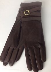Ralph Lauren Purple Label Leather Gloves 6.5 Brown Long Cashmere Lined New