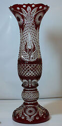 H75 cm Decorative Cased Crystal VASE RUBY RED Cut to clear Overlay RUSSIA New