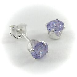 4mm Round LAVENDER Gemstone Post Earrings in SOLID 925 STERLING SILVER NEW $7.97