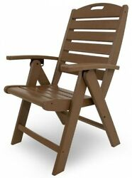 Outdoor Folding Highback Chair Classic Brown Traditional Yard Patio Extra Seatin