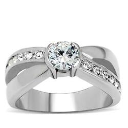 Stainless Steel Round CZ & Accents Promise Wedding Engagement  X Cross Ring
