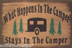 What Happens In The Camper Camping Rustic Country Canvas Sign Home Decor $9.99