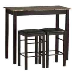 3 Piece Counter High Dining Set Wood Table Stools Kitchen Breakfast Nook Patio