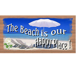 Wood Signs -The Beach is Our Happy Place GS 2017 -Tropical Sign-GiggleSticks