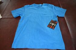 Lions Crest by English Laundry Fashion Designer Shirts V Neck BLUE Cotton SM MD