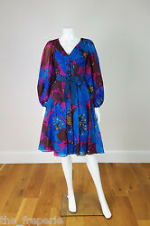 *YVES SAINT LAURENT* RIVE GAUCHE VINTAGE SILK FLORAL PRINT DRESS (XS)