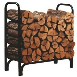 Deluxe Outdoor Log Rack 4 Foot Black Firewood Stand Fireplace Wood Steel Rack