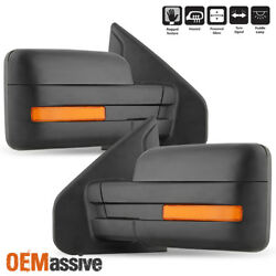 Fit 2007 2014 Ford F 150 Power Heated Puddle LED Signal Side Mirror LR $104.99