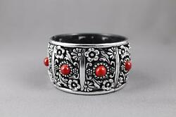 Silver Black Red bracelet textured medallion plastic hinged bangle cuff wide $8.97