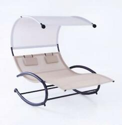 Double Chaise Rocker Patio Outdoor Furniture Chair Canopy Pool Swing Hammock