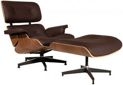 Eames Lounge Chair And Ottoman Premium Quality Italian Leather Brown Walnut