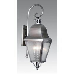 Livex 3 Light Colonial Lg Outdoor Wall Lamp Lighting Fixture Pewter Clear Glas