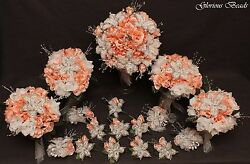 Bridal Bouquet Wedding Flower BLUSH PINK  17 PC Package BEADED LILIES Rose