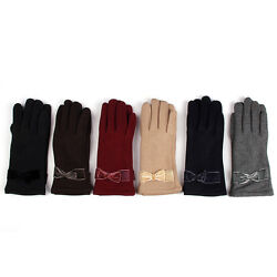 Elegant Women#x27;s Winter Thermal Gloves with Bow Different Colors $9.99