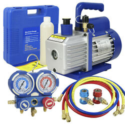 35CFM 14hp Air Vacuum Pump HVAC Refrigeration AC Manifold Gauge Set R134a Kit $96.73