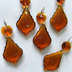 10PCS AMBER CRYSTAL CHANDELIER FRENCH PRISMS WEDDING METAL RING CONNECT 38MM $12.99